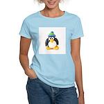 Clay Green Beanie Penguin Women's Pink T-Shirt