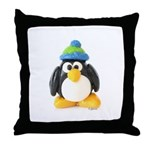 Clay Green Beanie Penguin Throw Pillow