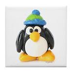 Clay Green Beanie Penguin Tile Coaster