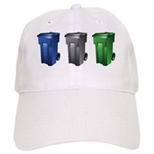garbage_cans_black_blue_green Baseball Cap
