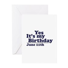 June 11 Birthday Greeting Cards (Pk of 10)