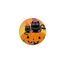hllwn-2cats-pmkn-bat_Xbrdr Mini Button
