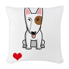 I-Love-My-Bully-dog-dark Woven Throw Pillow