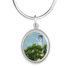 Key West Light tall Silver Oval Necklace