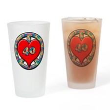 peace heart and 40 copy Drinking Glass