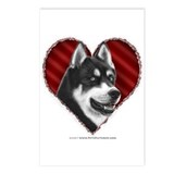 Siberian Husky Valentine Postcards (Package of 8)