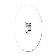Blues Man Logo 20x12 Oval Wall Decal