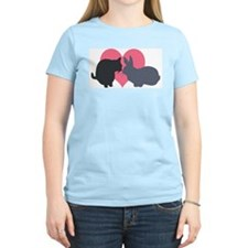 Cat and Rabbit Women's Pink T-Shirt