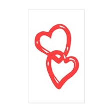 Two Hearts as one Rectangle Decal