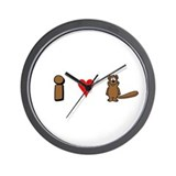 """I Love Beaver"" Wall Clock"