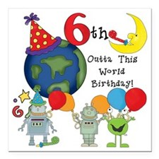 "alienbday6 Square Car Magnet 3"" x 3"""
