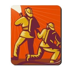 Fireman firefighter kneeling fighting  f Mousepad