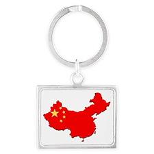 China_Flag_Map_1 Landscape Keychain
