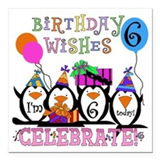 "PENGUINBDAY6 Square Car Magnet 3"" x 3"""