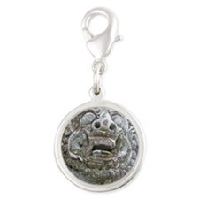 Balinese Temple Guardian Silver Round Charm