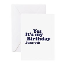 June 9 Birthday Greeting Cards (Pk of 10)
