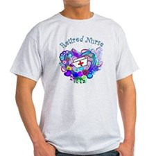Retired Nurse Artsy Retro Heart T-Shirt
