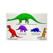 Colored Dinos Rectangle Magnet