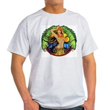 Hawaiian Hula Girl Ash Grey T-Shirt