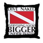 Dive Naked Throw Pillow