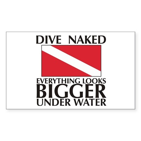 Dive Naked Rectangle Sticker