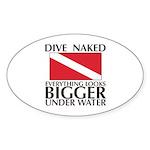Dive Naked Oval Sticker