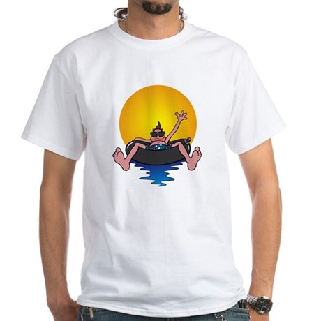 Tubing down the River White T-Shirt