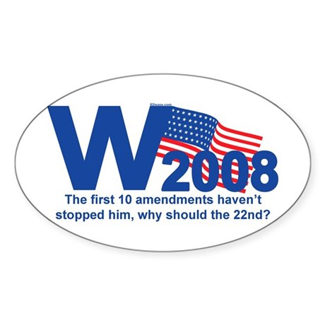 W in 2008 Joke Oval Sticker