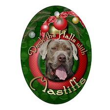 DeckHalls_Mastiffs_Snoop Oval Ornament