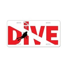DIVE-on-Dark Aluminum License Plate