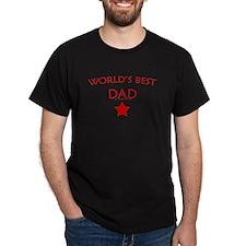 World's Best Dad Red Star - Black T-Shirt