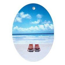 Cute Beach chair Oval Ornament