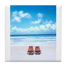 Cute Beach chair Tile Coaster