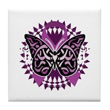 Fibromyalgia-Butterfly-Tribal-blk Tile Coaster