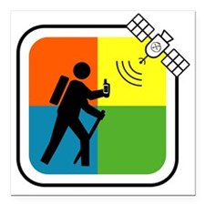 "GeoCache Man Square Car Magnet 3"" x 3"""