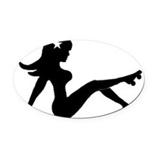 mudflap large black Oval Car Magnet