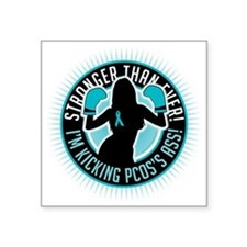 "PCOS-Boxing-Girl Square Sticker 3"" x 3"""