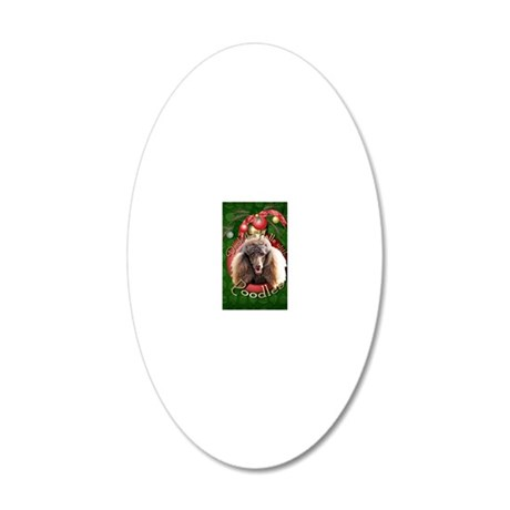 DeckHalls_Poodles_Chocolate 20x12 Oval Wall Decal