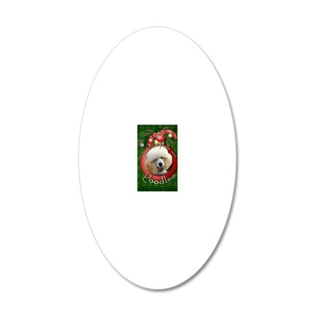 DeckHalls_Poodles_Apricot 20x12 Oval Wall Decal