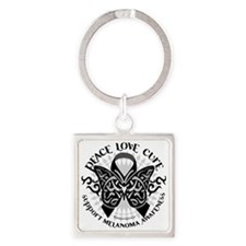 Skin-Cancer-Tribal-Butterfly Square Keychain