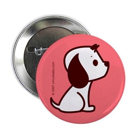 White / Pink Dog Button