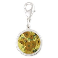 Sunflowers by Vincent Van Gogh Silver Round Charm