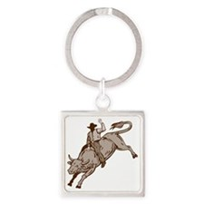 Rodeo cowboy bull riding Square Keychain