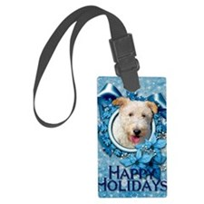 Blue_Snowflake_Wire_Fox_Terrier_ Luggage Tag