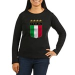 Italian 4 Star flag Women's Long Sleeve Dark T-Shi