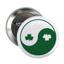 Irish Yin Yang Shamrocks Button