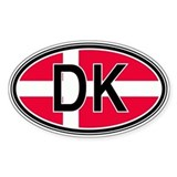 Denmark Euro Oval Bumper Stickers
