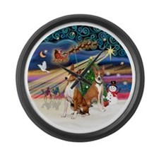 Xmas Magic - Basenjis (two) Large Wall Clock