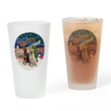 Xmas Magic - Labradors (Choc-Yellow Drinking Glass