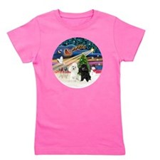 Xmas Magic - Poodles (TWO toy-BW) Girl's Tee